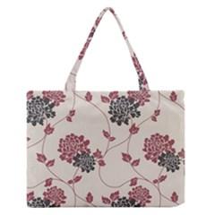 Flower Floral Black Pink Medium Zipper Tote Bag by Mariart