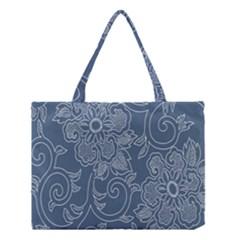 Flower Floral Blue Rose Star Medium Tote Bag by Mariart