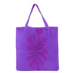 Dendron Diffusion Aggregation Flower Floral Leaf Red Purple Grocery Tote Bag by Mariart
