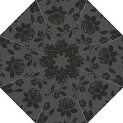 Flower Floral Rose Black Golf Umbrellas by Mariart