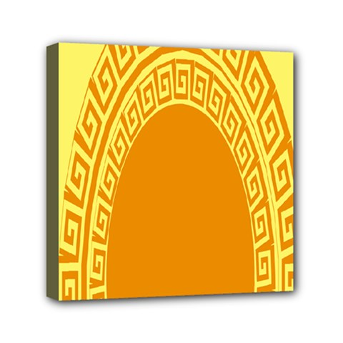Greek Ornament Shapes Large Yellow Orange Mini Canvas 6  x 6  by Mariart