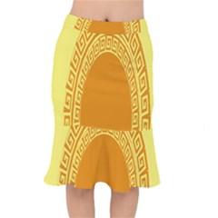 Greek Ornament Shapes Large Yellow Orange Mermaid Skirt by Mariart