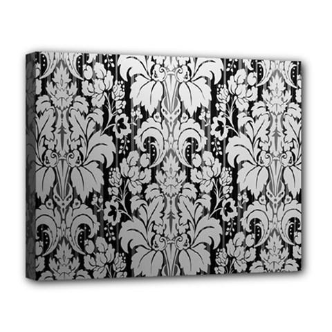 Flower Floral Grey Black Leaf Canvas 14  X 11  by Mariart