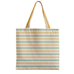 Horizontal Line Yellow Blue Orange Zipper Grocery Tote Bag by Mariart