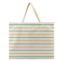 Horizontal Line Yellow Blue Orange Zipper Large Tote Bag by Mariart