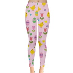 Easter - chick and tulips Leggings  by Valentinaart