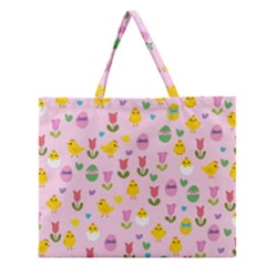 Easter   Chick And Tulips Zipper Large Tote Bag by Valentinaart