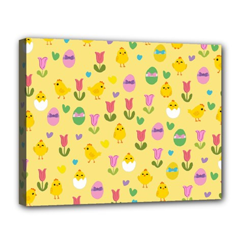 Easter   Chick And Tulips Canvas 14  X 11  by Valentinaart