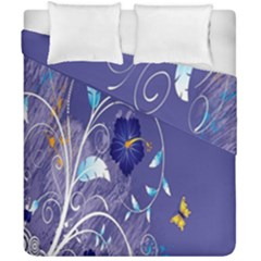 Flowers Butterflies Patterns Lines Purple Duvet Cover Double Side (california King Size) by Mariart