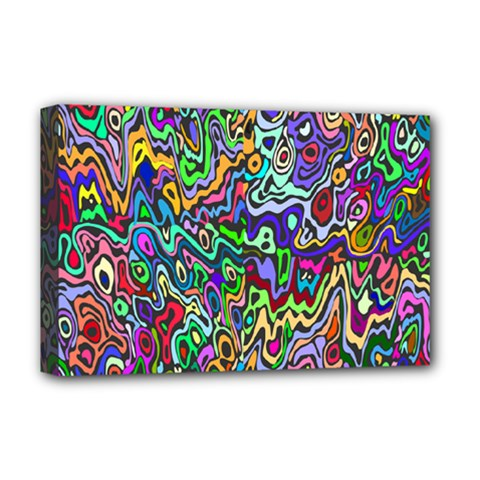 Colorful Abstract Paint Rainbow Deluxe Canvas 18  X 12   by Mariart