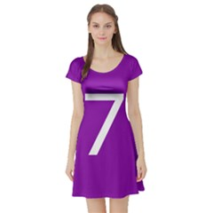 Number 7 Purple Short Sleeve Skater Dress by Mariart