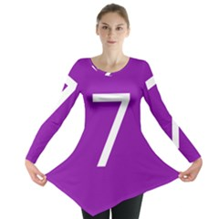 Number 7 Purple Long Sleeve Tunic  by Mariart