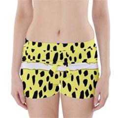 Leopard Polka Dot Yellow Black Boyleg Bikini Wrap Bottoms by Mariart