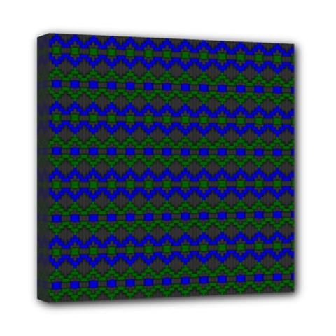 Split Diamond Blue Green Woven Fabric Mini Canvas 8  X 8  by Mariart