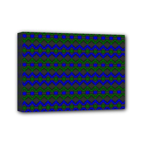 Split Diamond Blue Green Woven Fabric Mini Canvas 7  X 5  by Mariart