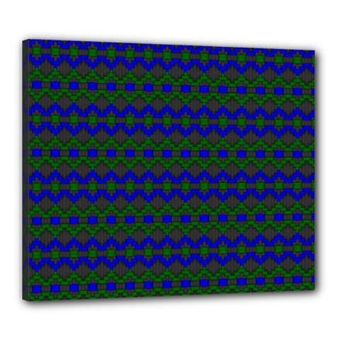 Split Diamond Blue Green Woven Fabric Canvas 24  X 20  by Mariart