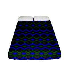 Split Diamond Blue Green Woven Fabric Fitted Sheet (full/ Double Size) by Mariart