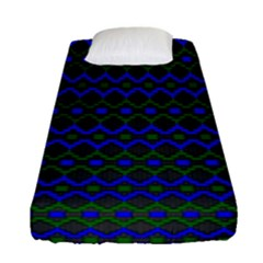 Split Diamond Blue Green Woven Fabric Fitted Sheet (single Size) by Mariart