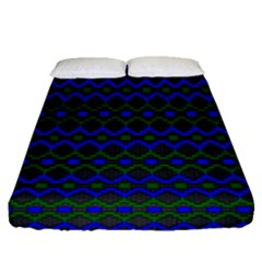 Split Diamond Blue Green Woven Fabric Fitted Sheet (queen Size) by Mariart