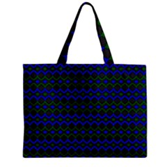 Split Diamond Blue Green Woven Fabric Zipper Mini Tote Bag by Mariart