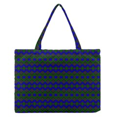 Split Diamond Blue Green Woven Fabric Medium Zipper Tote Bag by Mariart