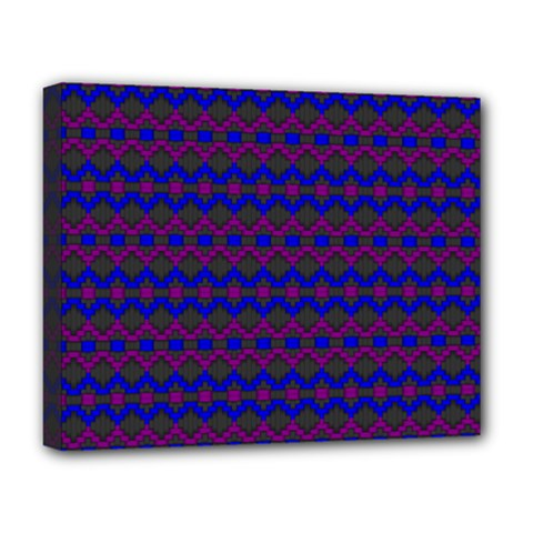 Split Diamond Blue Purple Woven Fabric Deluxe Canvas 20  X 16   by Mariart