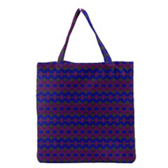 Split Diamond Blue Purple Woven Fabric Grocery Tote Bag by Mariart