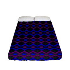 Split Diamond Blue Purple Woven Fabric Fitted Sheet (full/ Double Size) by Mariart