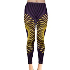 Polka Dot Circle Leaf Flower Floral Yellow Purple Red Star Leggings  by Mariart
