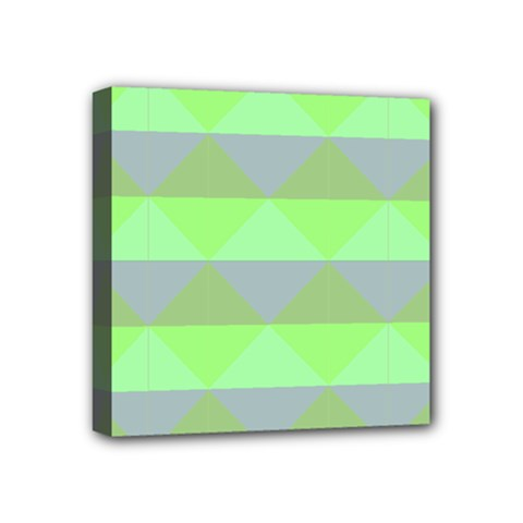 Squares Triangel Green Yellow Blue Mini Canvas 4  X 4  by Mariart
