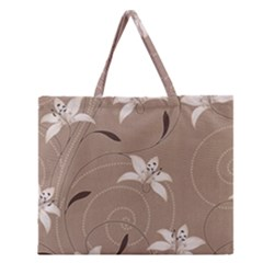 Star Flower Floral Grey Leaf Zipper Large Tote Bag by Mariart