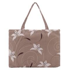 Star Flower Floral Grey Leaf Medium Zipper Tote Bag by Mariart