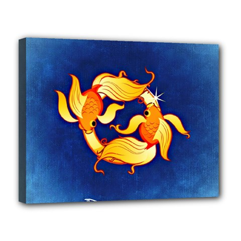 Zodiac Pisces Canvas 14  X 11  by Mariart