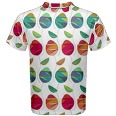 Watercolor Floral Roses Pattern Men s Cotton Tee