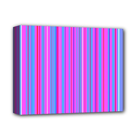 Blue And Pink Stripes Deluxe Canvas 14  X 11  by Nexatart