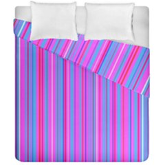Blue And Pink Stripes Duvet Cover Double Side (California King Size) by Nexatart