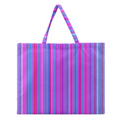 Blue And Pink Stripes Zipper Large Tote Bag by Nexatart
