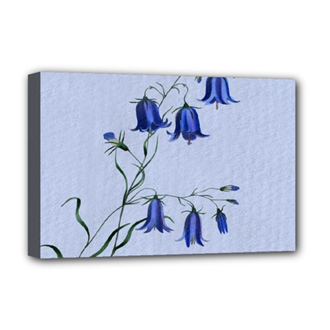 Floral Blue Bluebell Flowers Watercolor Painting Deluxe Canvas 18  x 12   by Nexatart