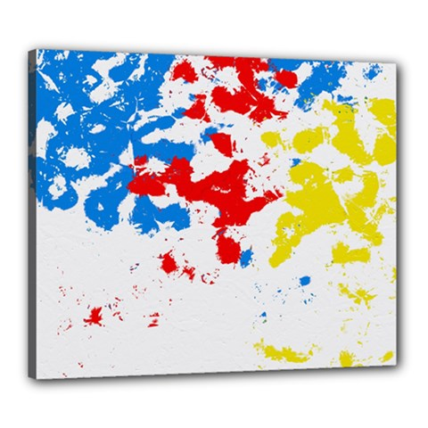 Paint Splatter Digitally Created Blue Red And Yellow Splattering Of Paint On A White Background Canvas 24  X 20  by Nexatart