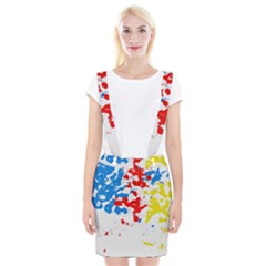 Paint Splatter Digitally Created Blue Red And Yellow Splattering Of Paint On A White Background Suspender Skirt by Nexatart