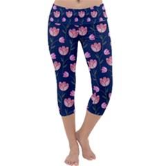 Watercolour Flower Pattern Capri Yoga Leggings