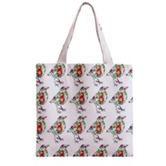 Floral Birds Wallpaper Pattern On White Background Zipper Grocery Tote Bag by Nexatart