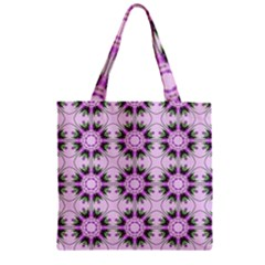 Pretty Pink Floral Purple Seamless Wallpaper Background Zipper Grocery Tote Bag by Nexatart