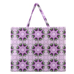 Pretty Pink Floral Purple Seamless Wallpaper Background Zipper Large Tote Bag by Nexatart
