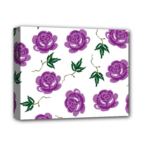 Purple Roses Pattern Wallpaper Background Seamless Design Illustration Deluxe Canvas 14  X 11  by Nexatart