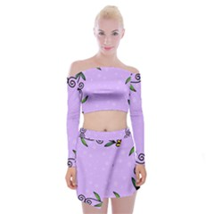 Hand Drawn Doodle Flower Border Off Shoulder Top With Skirt Set by Nexatart