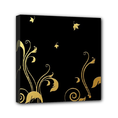 Golden Flowers And Leaves On A Black Background Mini Canvas 6  X 6  by Nexatart