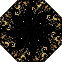 Golden Flowers And Leaves On A Black Background Folding Umbrellas by Nexatart