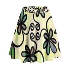 Completely Seamless Tileable Doodle Flower Art High Waist Skirt by Nexatart