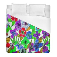 Background Of Hand Drawn Flowers With Green Hues Duvet Cover (Full/ Double Size) by Nexatart